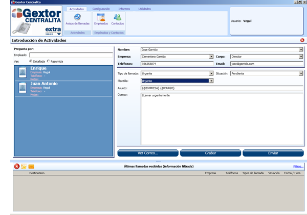 Software ERP Gextor Gestión Comercial, programa Centralita, introducción de las actividades