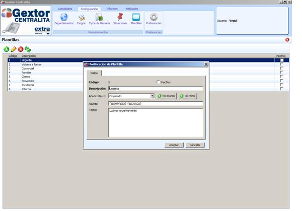 Software ERP Gextor Gestión Comercial, programa Centralita, configuración de las plantillas