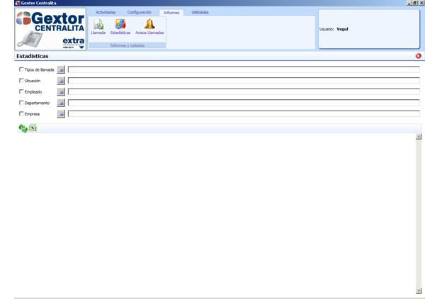 Software ERP Gextor Gestión Comercial, programa Centralita, informes estadísticos