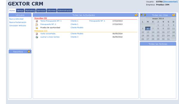 Software Gextor Gestión CRM, Vínculos, nueva actividad, nueva reclamación y simulación artículos