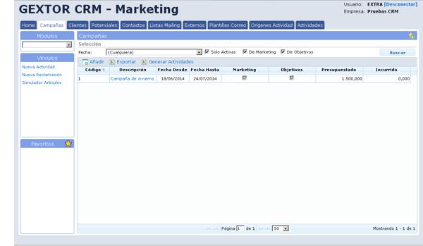 Software Gextor Gestión CRM, Marketing, nueva actividad, nueva reclamación y simulación artículos