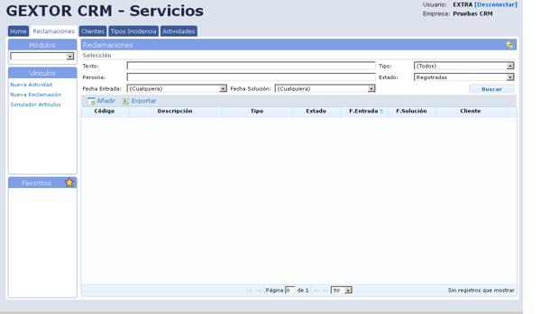 Software Gextor Gestión CRM, Reclamaciones, nueva actividad, nueva reclamación y simulación artículos