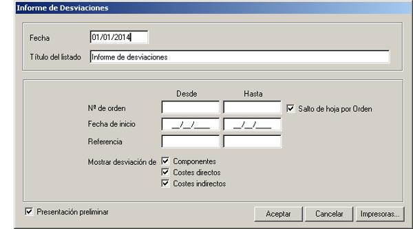 Software ERP Gextor Gestión Comercial, Programa Fabricación, informes de desviaciones