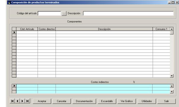 Software ERP Gextor Gestión Comercial, Programa Fabricación, composición de los productos terminados