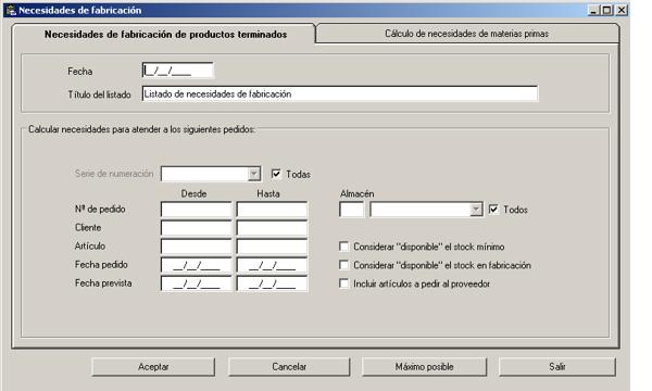 Software ERP Gextor Gestión Comercial, Programa Fabricación, necesidades de fabricación