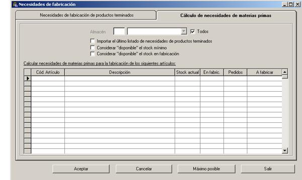 Software ERP Gextor Gestión Comercial, Programa Fabricación, cálculo de necesidades de materias primas