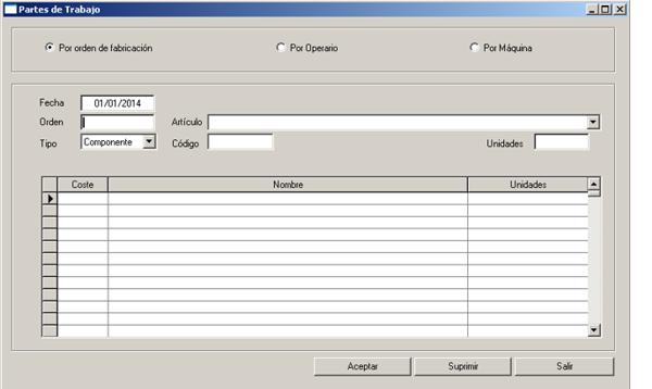 Software ERP Gextor Gestión Comercial, Programa Fabricación,  partes de trabajo (por orden de fabricación, operario y máquina)