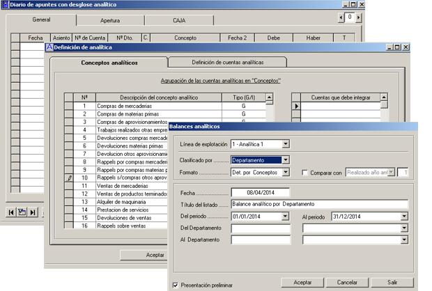 Software ERP Gextor Gestión Contabilidad Financiera, contabilidad analítica