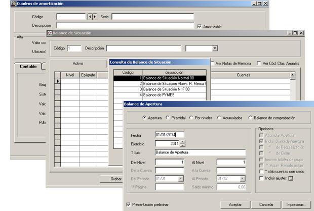 Software ERP Gextor Gestión Contabilidad Financiera, cuadros de amortizaciones y balances