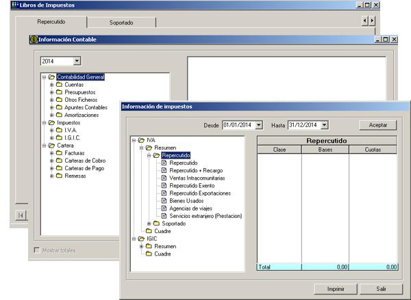 Software ERP Gextor Gestión Contabilidad Financiera, libros de facturas emitidas y recibidas