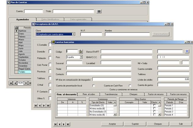 Software ERP Gextor Gestión Contabilidad Financiera, plan contable, preceptores de IRPF, definición cuentas bancarias