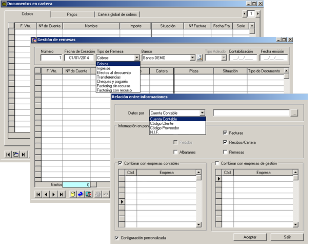 Software ERP Gextor Gestión Contabilidad Financiera, gestión tesorería