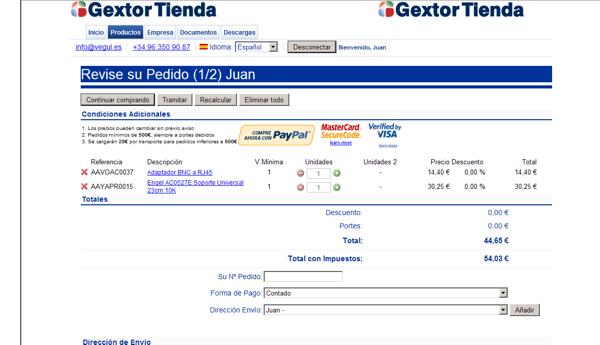 Gextor Tienda Online, verificación del pedido tienda online
