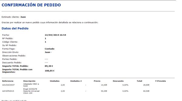 Gextor Tienda Online, confirmación de pedido tienda online