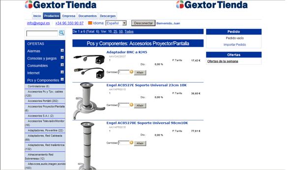 Gextor Tienda Online, Venta de los artículos en la tienda online