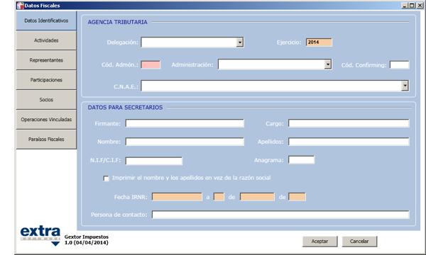 Software ERP Gextor Gestión Contabilidad Financiera, gestión modelos oficiales, datos fiscales