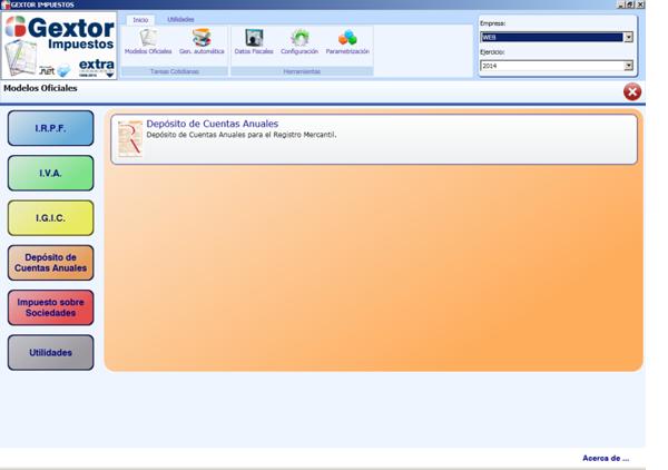 Software ERP Gextor Gestión Contabilidad Financiera, gestión modelos oficiales, Depósito de cuentas anuales