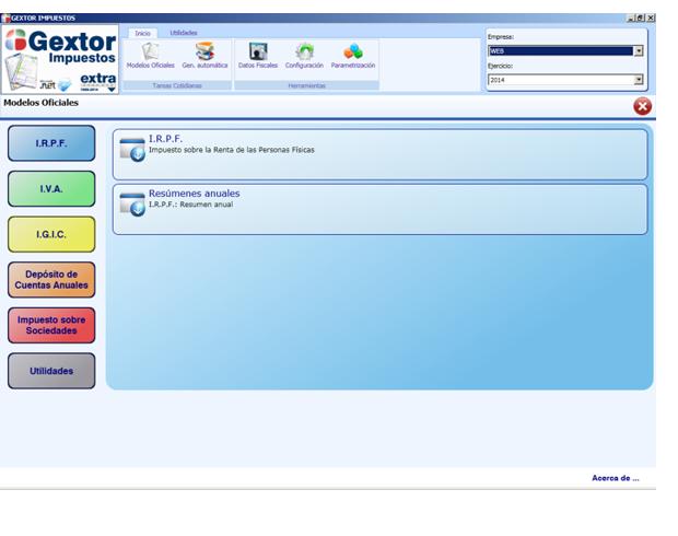 Software ERP Gextor Gestión Contabilidad Financiera, gestión modelos oficiales, IRPF