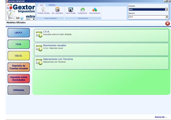 Software ERP Gextor Gestión Contabilidad Financiera, gestión modelos oficiales, IVA