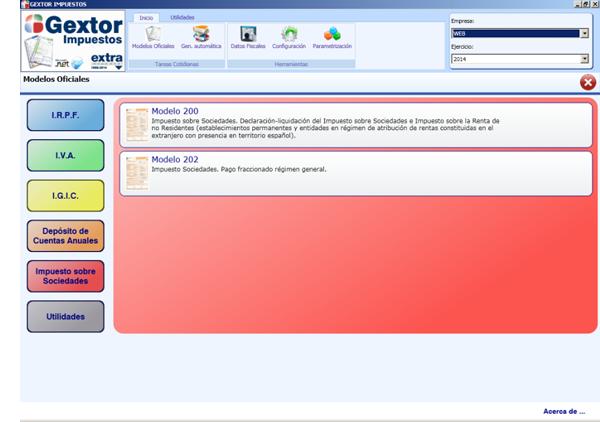 Software ERP Gextor Gestión Contabilidad Financiera, Gestión modelos oficiales, Impuesto de Sociedades