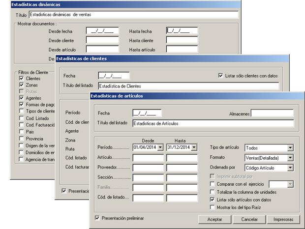 Software ERP Gextor Gestión Comercial, estadísticas de la gestion comercial y ventas