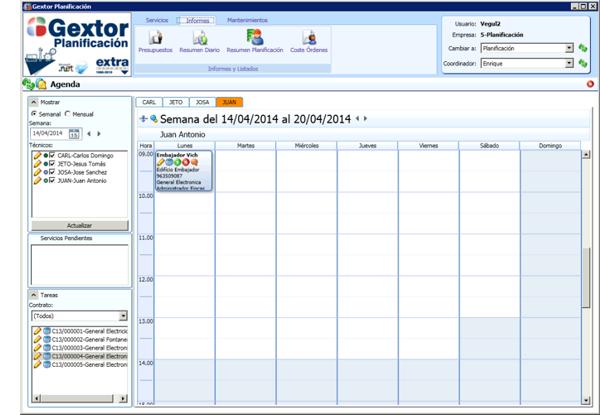 Software de Planificación, menú de informes