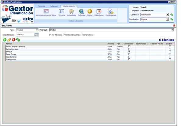 Software de Planificación, menú de mantenimientos