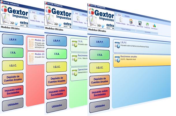 Software ERP Gextor, menú programa Modelos Oficiales