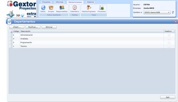 Software Gextor Gestión Proyectos, ficha de mantenimientos, definición de los departamentos