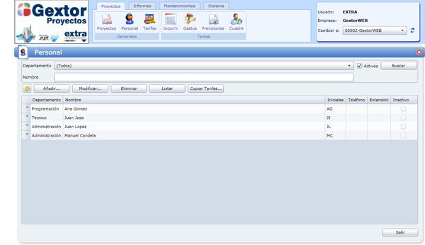 Software Gextor Gestión Proyectos, Gestión de proyectos y las fichas del personal
