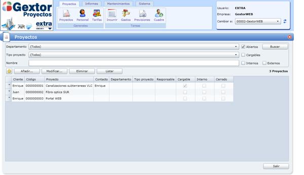 Software Gextor Gestión Proyectos, gestión de proyectos