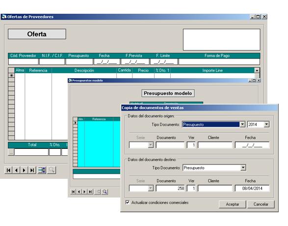 Software ERP Gextor Gestión Comercial, gestión de compra proveedores