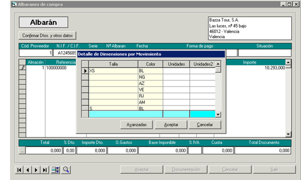 Software Gestión Tallas y Colores, albaranes de compras