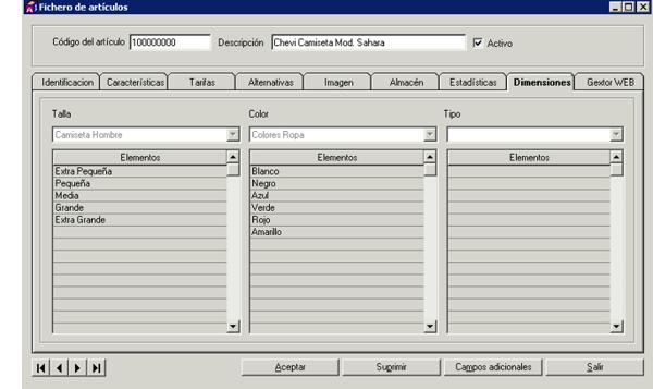 Software de gestión Tallas y Colores