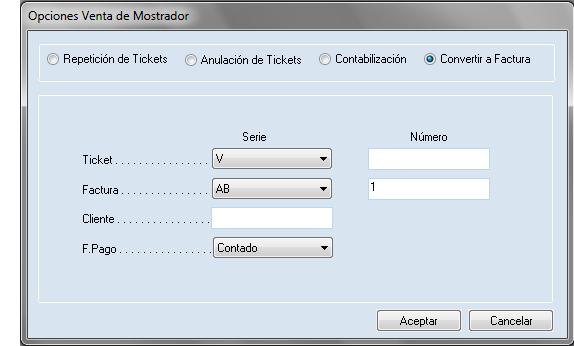 Software ERP Gextor Gestión Comercial, Gestión TPV, opciones de venta de mostrador