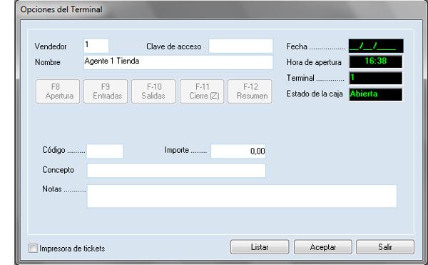 Software ERP Gextor Gestión Comercial, Gestión TPV, opciones de terminal